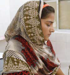 "Saba, the main subject of A Girl in the River, in a hospital in Pakistan. She was the survivor of an attempted ""honor"" killing in a country where more than 1,000 women a year are killed to defend a family's ""honor."""
