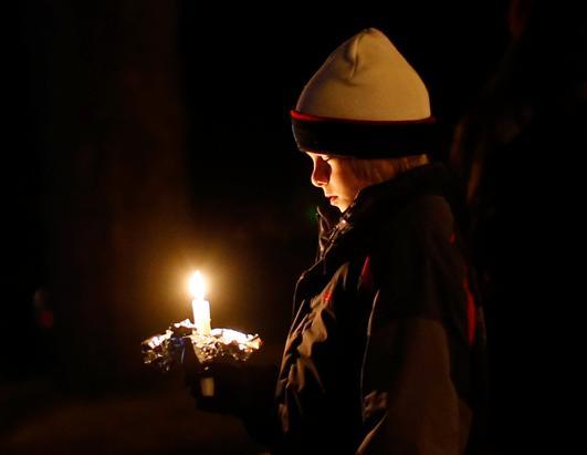 Single child at Sandy Hook vigil.