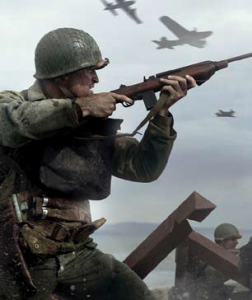 Image of a soldier firing a rifle.
