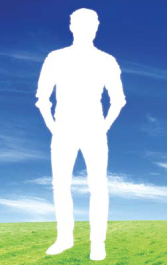 A man shillouetted against a blue sky.
