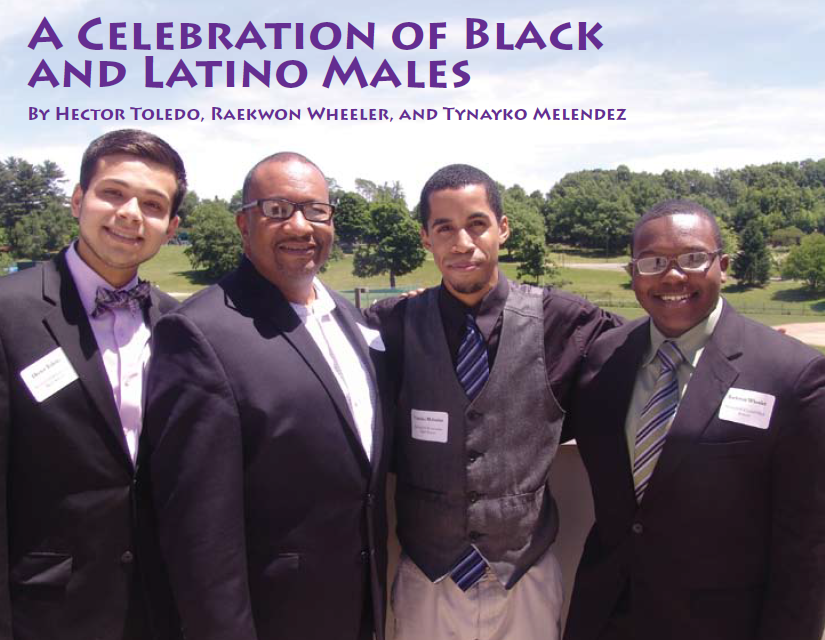 Hector Toledo, Tynayko Melendez and Raekwon Wheeler with Alpha Phi Alpha director of education Ronn Johnson, second from the left.