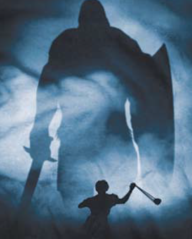 Drawing of a child with a slingshot in front of a silhouette of a giant with a shield and sword.