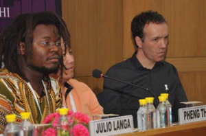 MenEngage members Julio Langa (Mozambique), Pheng Thao (USA), Michael Flood (Australia).