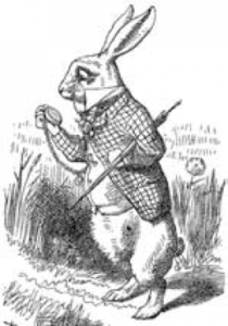 "Line drawing of the White Rabbit from ""Alice in Wonderland"""