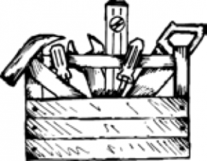 Line drawing of a wooden box of tools.