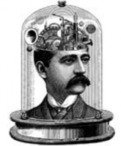 Line drawing of a man's head with mechanical gears inside the head.