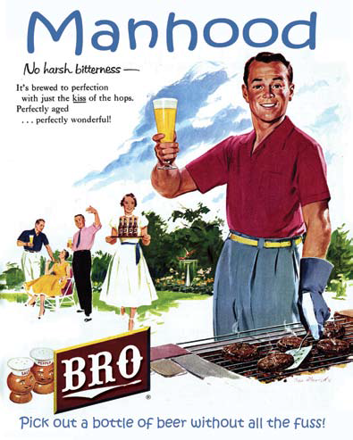 """Cartoon poster of a man barbecuing and holding up glass of beer under the title """"Manhood."""""""