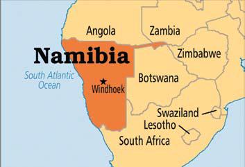 Map of Southwest Africa, showing Namibia on the West coast.