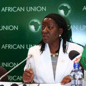 Bience Gawanas seated at a table, wearing a white blazer and speaking into a microphone.