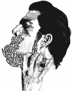 """Black-and-white drawing of a mans face in profile, shaving the words """"sexism, hate, misogyny, violence, chauvinism, and bigotry"""" off his face with a straight razor."""