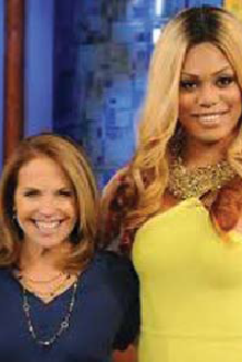 Transgender actress Laverne Cox with syndicated talk show host Katie Couric.