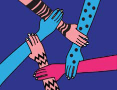 A cartoon showing five, differently-colored hands in a ciclre, each holding onto the wrist of the next.