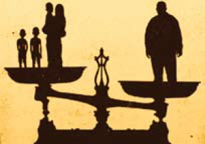 Cartoon of man on scale outweighing a woman and three children.