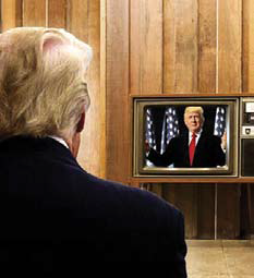 Image of Donald Trump watching himself on TV news.