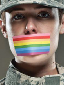 Photo of a soldier with a rainbox flag covering their mouth.