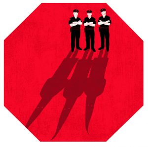 drawing of three police officers whose shadows are shaped as KKK hoods