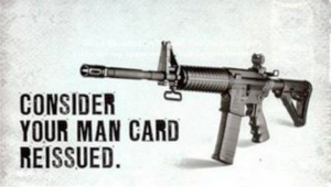 """Air rifle ad reading """"consider your man card reissued"""" next to a photo of a gun."""