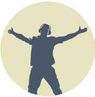 Blue silhouette clip-art drawing of man standing with arms outstreched, against a yellow background.