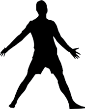 silhouette of man standing with arms and legs spread out