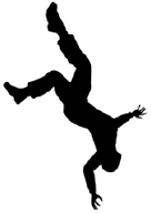 silhouette of man upside-down, falling