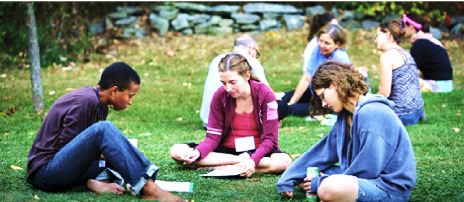 Group of students sitting on grass outdoors reading.