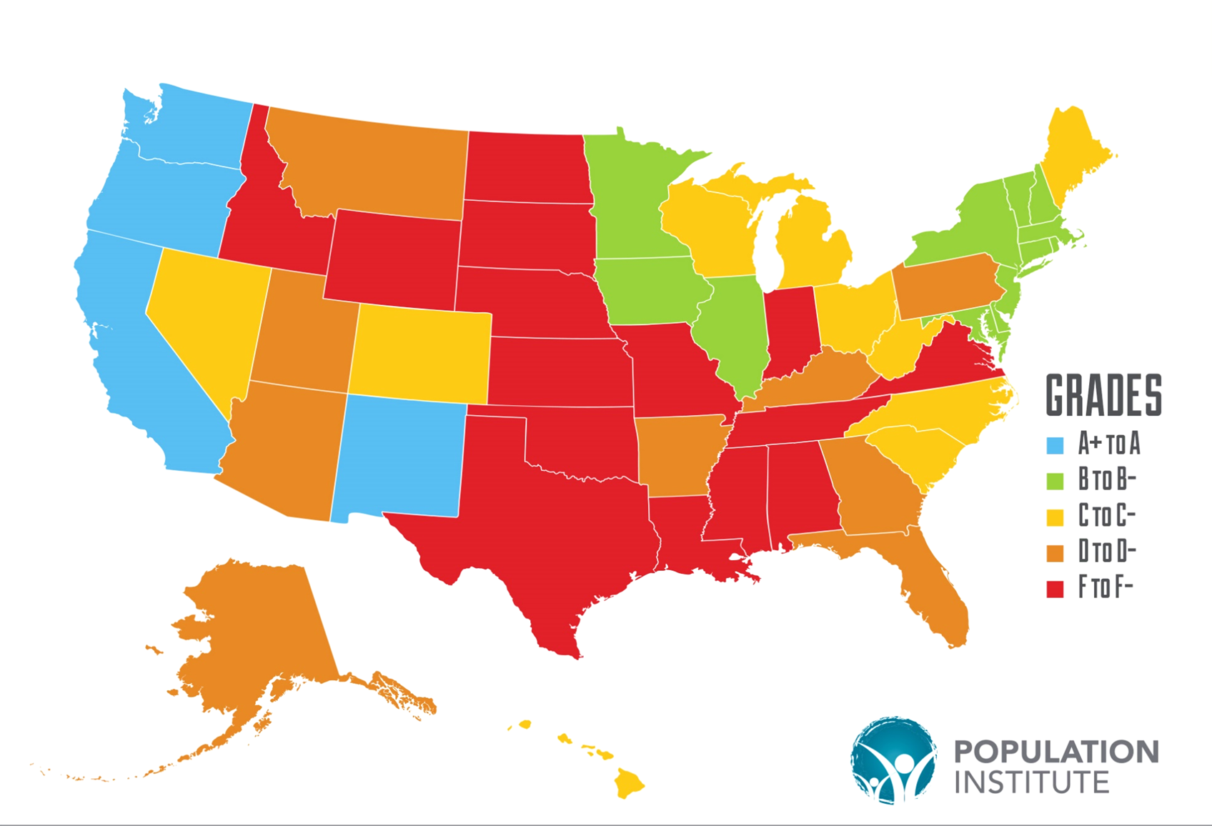 Map showing 50 US states colored according to reproductive health grades.