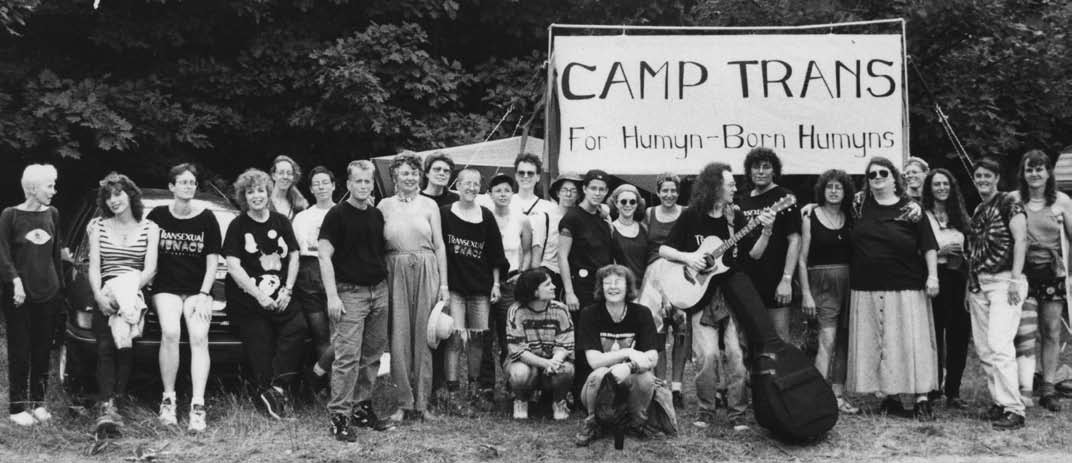 Camp Trans was established across from Michigan Womyn's Music Festival when transgender folks were barred from attending.