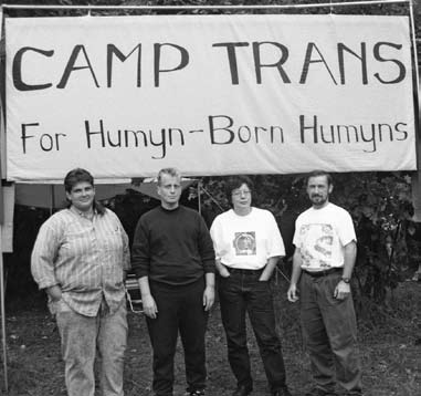 Leslie Feinberg (second from left), Jamison Green (far right) and other Camp Trans activists across from Michigan Womyn's Music Festival.